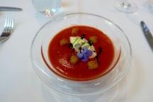 Datterini Tomato Gazpacho, Mustard Ice Cream & Smoked Eel