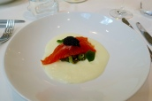 Juniper Cured Trout, Dill Pickled Cucumber, Ratte Potato Foam, Exmoor Caviar