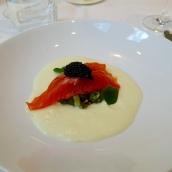 Juniper Cured Trout, Dill Pickled Cucumber, Ratte Potato Foam, Exmoor Caviar