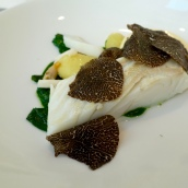 Slow Cooked Turbot, Parsley, Smoked Linzer Potatoes, Beurre Blanc and Black Truffle