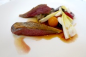 Roast Squab Pigeon Breast and Confit Leg, Beetroot, Almonds and Cherries