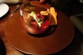 Chocolate cremeaux, cherries & financiers