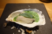 Poached Oyster, Strawberry & Sorrel Granita
