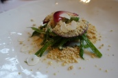 Fresh Hazelnuts, Green Beans, Blood Peach and Grated Foie Gras