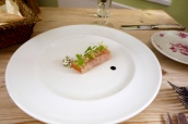Salmon Cured in Moonshire with Coriander and Olive Caramel