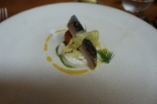 Cured mackerel, horseradish remoulade, crab croquette, Florence fennel and orange dressing