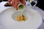 Scottish langoustine, chilled almond, mint & grape soup, finger lime, crème fraîche