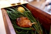 Pine smoked quail, 'English breakfast'