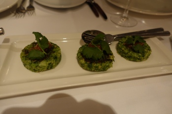 Hara Gobi Tikki - Broccoli cakes with potato and spring onions; gooseberry chutney
