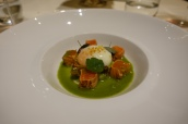 Demeter Onsen egg with chanterelles seared Icelandic sea trout sorrel and dill coulis