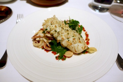 Char grilled squid, rocket, garlic and chilli