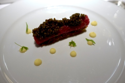 Tartar of Wagyu Beef and Imperial Caviar, Shallot Tarte and Champagne Hollandaise