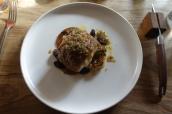 Spiced Cornish Monkfish with Caramelised Cauliflower Puree, Homemade Raisins and Verjus dressing