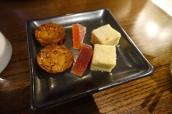 Petit Fours - Cumin Shortbread, Blood Orange Pate de Fruits, Almond Florentine