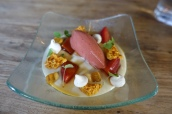 Tonka Bean Panna Cotta with Poached Plums, Ginger Wine Jelly & Plum Sorbet