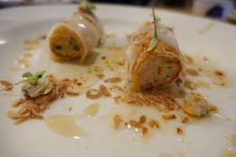 Crab, seafood and bean curd cannelloni, pickled cockles