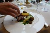 Squab Pigeon, Mushroom Puree, Smoked Snail Beignet, Lettuce