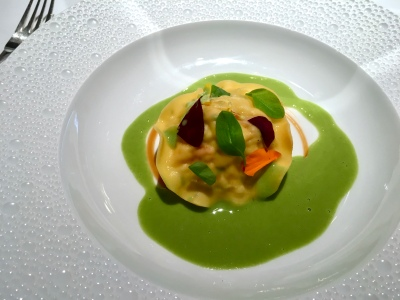 Ravioli of lobster, langoustine  & salmon, oxalis and wood sorrel