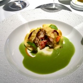 Ravioli of lobster, langoustine & salmon, oxalis and wood sorrel