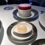 Raspberry souffle, almond ice cream