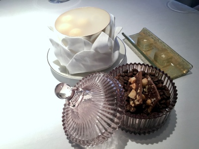 Petit Fours - White chocolate & strawberry ice cream bon bons; Elderflower jelly; Macadamia nut & chocolate tuiles