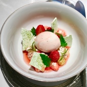 Strawberry and cream, lemon verbena, buttermilk, Sarawak pepper