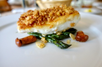 Turbot, Shallot & Anchovy Crust, Asparagus & Girolles