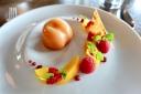 Peach Parfait Poached Peach, Raspberry, Almond