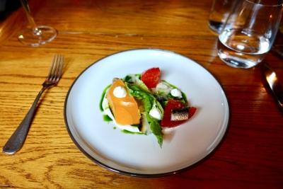 Heritage Tomato Salad, Ewes Milk Yoghurt, Cevennes Onion and Basil Oil