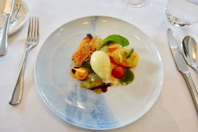 Pineapple Ribbed and Bull's Heart Tomatoes, Lobster Oil, Sorbet and Chardonnay