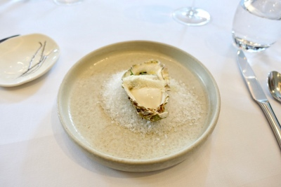 Chantilly of Oyster, Tartare of Sea Bream and Frozen English Wasabi