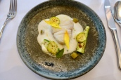Steamed Cod, Courgettes, Anchovy and Basil