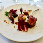 Berkshire Roe Buck, Smoked Bone Marrow, Grapes, Red Leaves and Vegetables